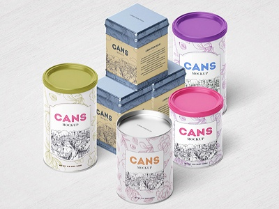 Packaging / Can Mockup sweet product organic mock-up metal logo label kitchen jar container cap can