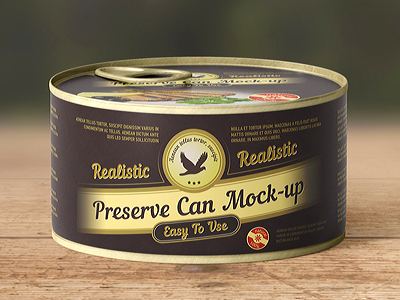 Preserve Can Mock Up sweet shine metal label mockup jar fish dessert container cap canned can