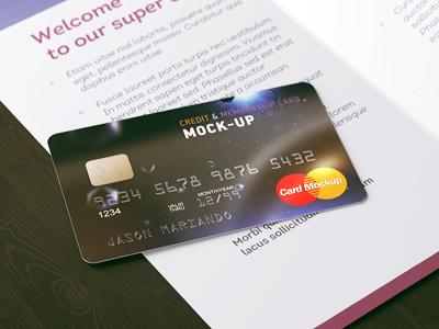Bank Credit Card Mock-Up mockup mock-up psd card gift present brochure membership credit card money bank