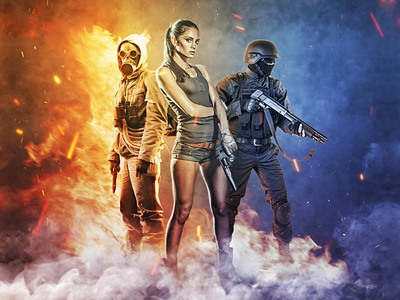 Champions Photoshop Action team squad smoke shatter sand hero game flames fire explode epic dust cinematic battlefield