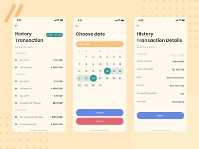 Vintage - Banking mobile app template - History Transaction