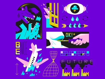 NO FUTURE spot illustration tears death nice dog plane factory future eye door fire textures editorial pattern hire enisaurus freelance vector character illustration