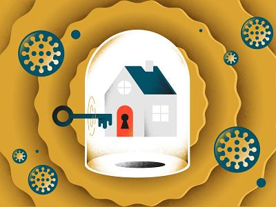 Airbnb + Coronavirus isolation key house home airbnb pandemic virus coronavirus editorial illustration illustrator freelance vector illustration