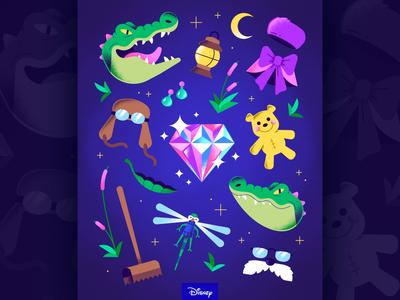 "Disney · ""Guess The Movie"" textures animation movie diamond crocodile disney art disney editorial pattern freelance vector character illustration"