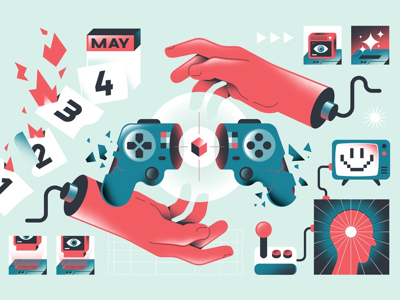 The Washington Post - Videogames game art games hands calendar editorial illustration game controller controller indiegame videogames editorial freelance vector character illustration
