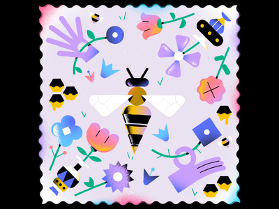 Save The Bees 🏵️ 🌸 🐝 🌺 🌼 enisaurus editorial illustration stickers loop honey animation after effects aftereffects motiongraphics motion animation flower bee vector character illustration