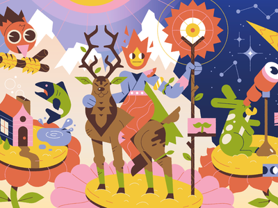 The Mountain Keeper keeper sun editorial illustration fish stars fire magic woods flower home bird rabbit deer nature mountain character illustration