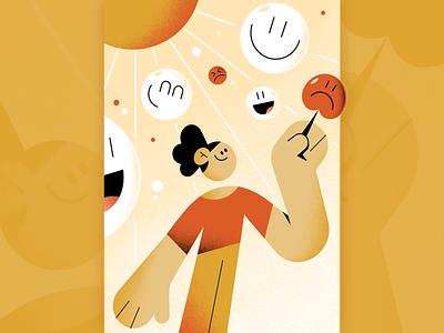 Ginger App bubbles sunny sun characterdesign editorial illustration app mentalhealth freelance character illustration