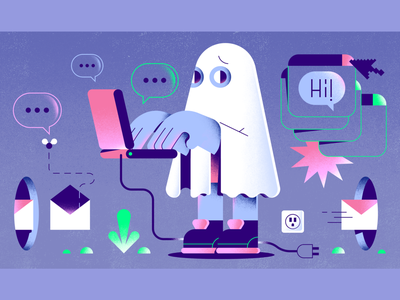 Ghosting editorial illustration characterdesign email macbook computer ghost ghosting editorial enisaurus freelance character illustration