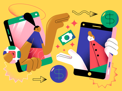 The Washington Post - Tipping phone app money tipping editorial character illustration