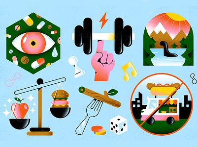 Inside Hook game crossfit fitness drugs balance magazine editorial apple ness eye hot dog illustration