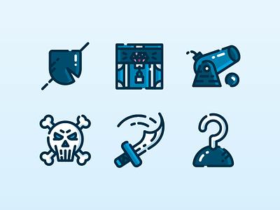 Pirate Icon Set hire design icon character freelance london enisaurus vector illustration