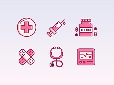 Medical Icon Set hire design icon character freelance london enisaurus vector illustration