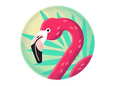 Flamingo hire design icon character freelance london enisaurus vector illustration