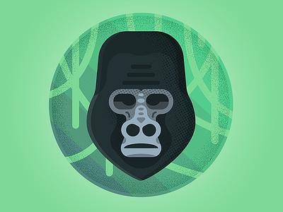 Gorilla hire design icon character freelance london enisaurus vector illustration