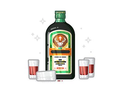 Jägermeister summer party alcohol jägermeister hire design icon character freelance london vector illustration