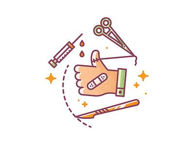 Healthy Ok!  like ok vaccine medicine doctor surgery scissors icon magazine editorial vector illustration