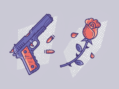 The trigger fragility bullet weapon arm flower texture icon rose pistol
