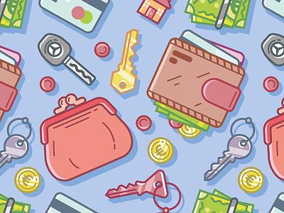Pocket Stuff coins crecit card key car money pocket