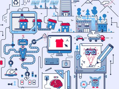 Editorial Illustration ar brain robot 3d printing drone future design illustration editorial