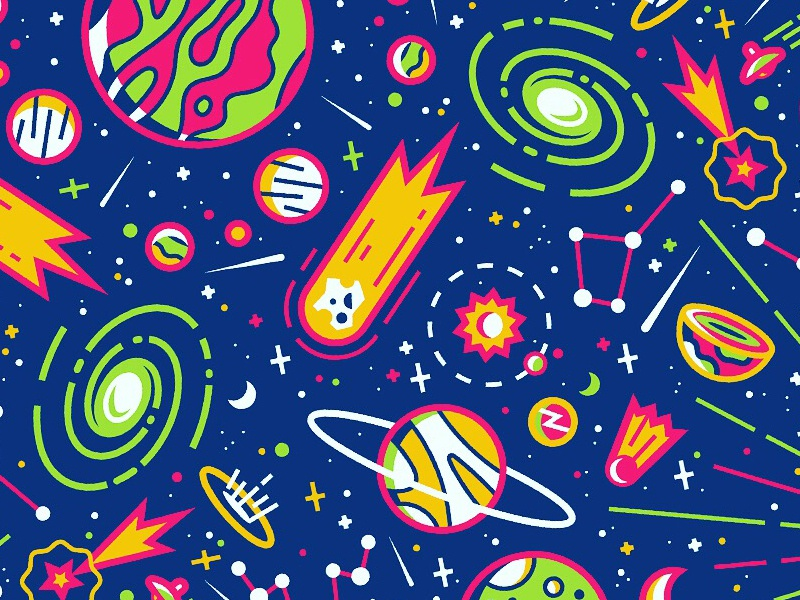 Big Bang Pattern space comet stars planets big bang illustration pattern universe