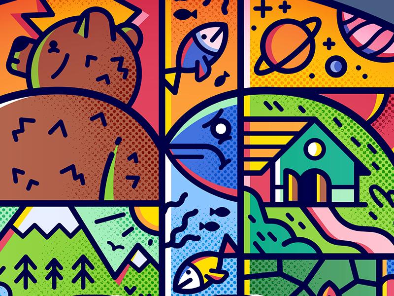 Gaea hearth woods sea mountain pattern planet fish home bear wild nature gaea