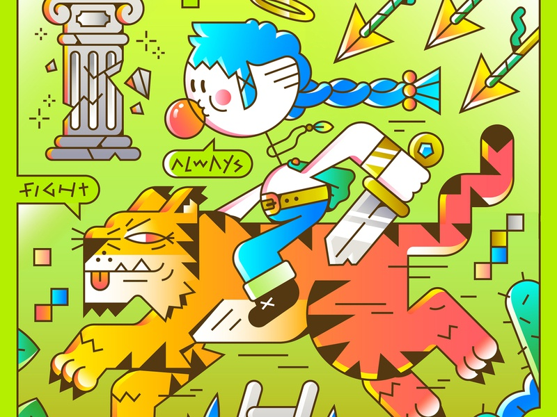 Into The Wild 3/4 animal nature gradients hole ladder haircut plants sword fighter arrow gum tiger editorial illustration vector character illustration