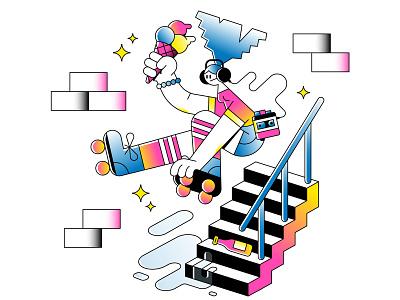 Roller Girl!⚡ riso gradients jump stairs girl walkman streets roller skate skating bottle icecream vector character illustration