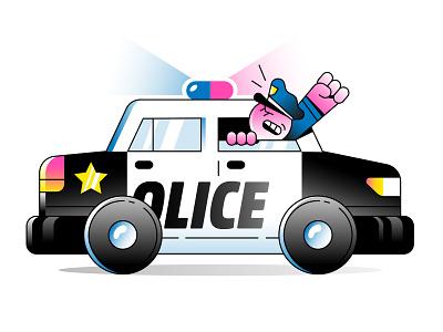 Police Car gradients police siren star officer car police vector character illustration