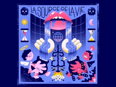 La Source De La Vie · The Source Of Life gradients time clouds fire skull flower demon angel lips mouth editorial illustration textures vector character illustration