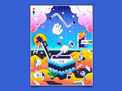 Furniture Builder eye puzzle desert thunder hands hammer divine clouds fire gradients poster editorial tools house home allen ikea vector character illustration