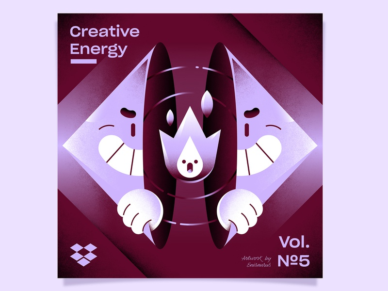 Creative Energy for Dropbox fire dropbox spotify energy creative music playlist cover vector character illustration