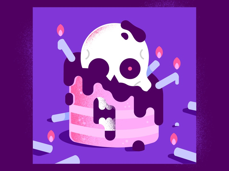 Happy Birthday! enisaurus illustrator sweet textures gradients fire skull cake candles death birthday happy vector character illustration