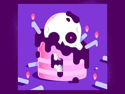 Happy Birthday! enisaurus illustrator sweet textures gradients fire skull cake candles death birthday happy vector character illustration