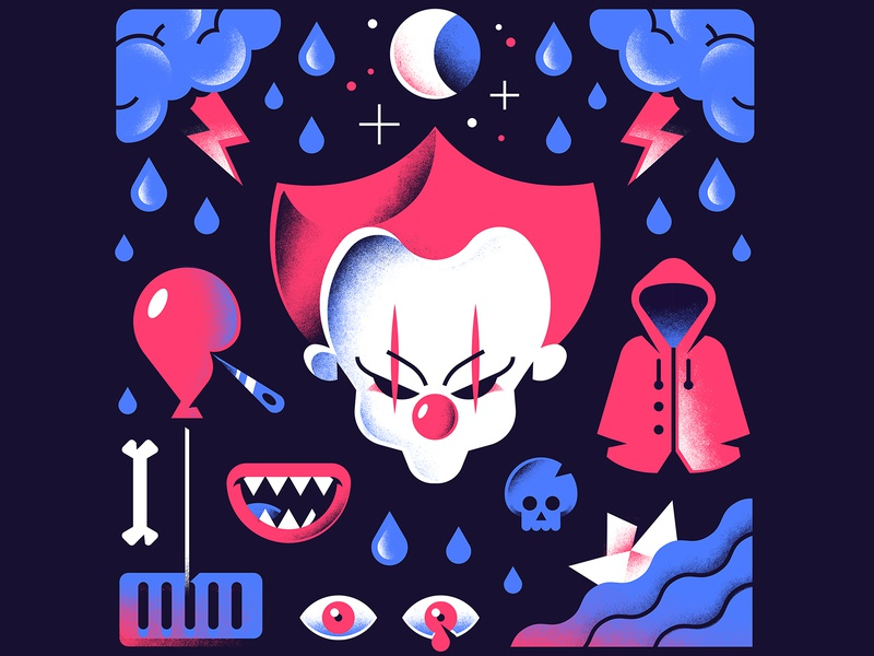 IT skull editorial illustration textures gradients water eye bones balloon thunder moon clown mouth stephen king book terror it freelance vector character illustration