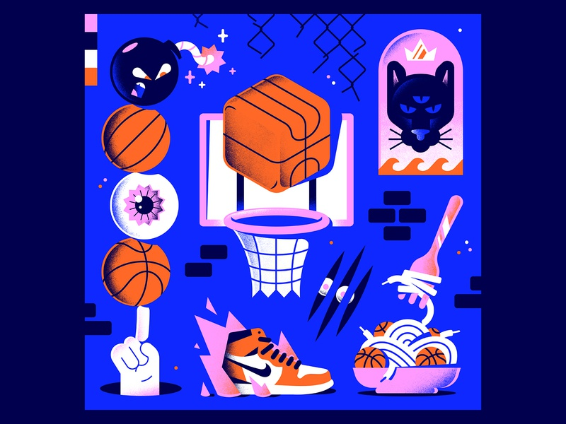 Play Hard! dribbble eat play fire wall fork bomb eye hand nike jordan panther editorial illustration sport textures gradients vector character illustration basketball