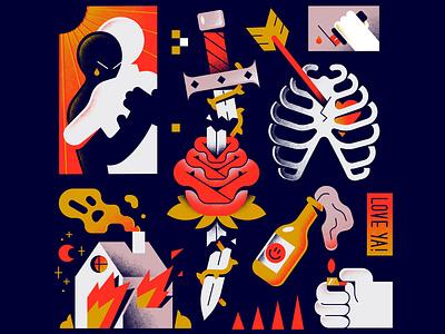 Love Ya! editorial heart hands rose freelance textures gradients sword fire love enisaurus vector character illustration