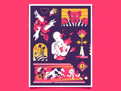 The Sinner poster gradients textures horse flower frieze zebra lion eye snake flames fire hell hire editorial enisaurus freelance vector character illustration