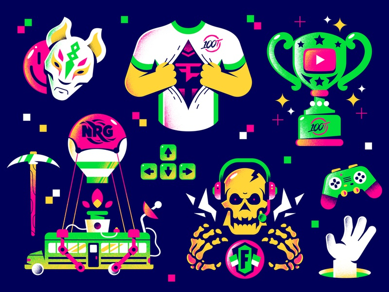 GumGum editorial illustration textures smile stars trophy hand music videogames gaming mask fornite skull esports editorial hire enisaurus freelance vector character illustration