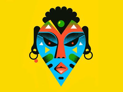 Voodoo Mask hire africa face textures mask voodoo editorial enisaurus freelance vector character illustration