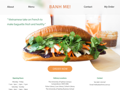 Website Homepage for online Banh mi order branding interface design design ui design ui ux design web design website