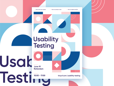 Poster Usability Testing masterclass usability testing graphic shape study palette pink geometric color shapes abstract poster white blue