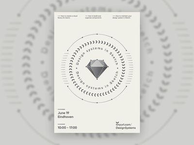Poster Design Systems in Sketch masterclass geometric art duotone laurels abstract diamond design system poster geometric sketch