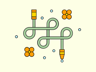 Water hose composition geometry vector illustrator flat drops flowers garden hose water summer