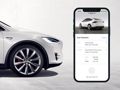 Tesla Credit Card Checkout touch id flat ui simple concept creditcard checkout app car tesla dailyui 002 002 dailyui modelx