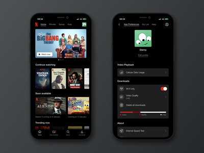 Netflix App concept iphone mobile product series movies avatar account settings interface app netflix 007 daily 007 dailyui