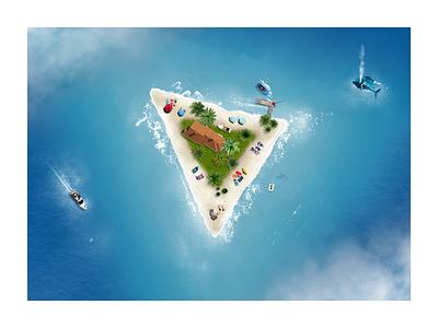 Triangle island beach water waves vacation triangle sunny sea realistic island holiday hike one fantasy boat