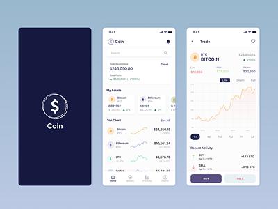 Coin app (Coinbase) coinbase coin wallet ethereum crypto bitcoin crypto wallet mobile design mobileapp cryptocurrency dribble clean ui ui app ux