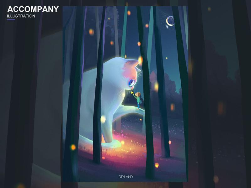 陪伴 设计 艺术 梦想 猫 色彩 illustration