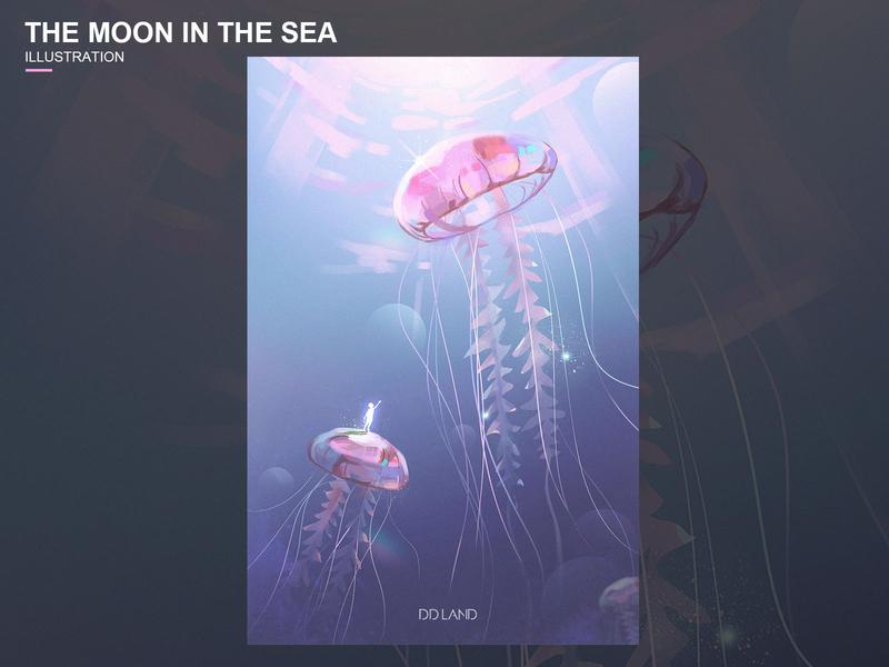 海里的月亮 The moon in the sea 装饰 插画 艺术 海 水母 logo 设计 illustration